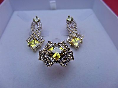 925 Sterling Silver Handmade Jewelry Citrine Yellow Earrings Sets