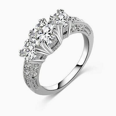 Women Charm CZ 925 Sterling Silver Plated Rings Crystal Wedding Engagement Gift