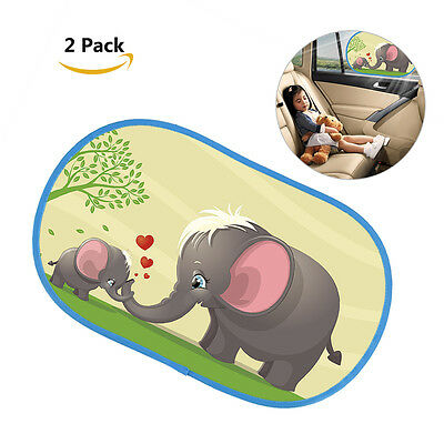 2Pcs Cartoon Car Side Window Curtain Sun Shade Covers Static Cling Elephant Cute