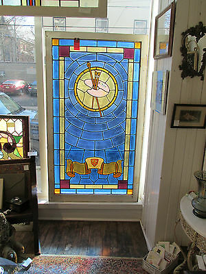 Large Antique Stained Glass Window with Artists Palate Motif