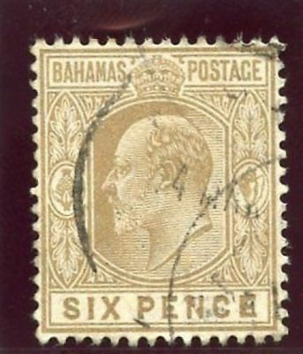 Bahamas 1906 KEVII 6d bistre-brown very fine used. SG 74. Sc 47.