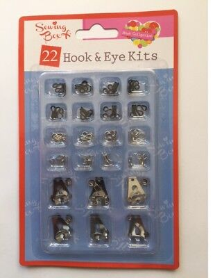 Sewing Box Pack Of 22 Assorted Hook & Eye Kit Fasteners Black & Silver Sew