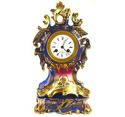 Antique French 19Th Century Porcelain Henry Mark A Paris Clock