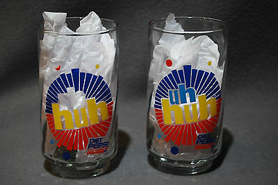 """2 Diet Pepsi Glasses """"You've Got The Right One Baby"""" """"Uh Huh"""""""