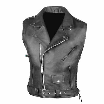 Men's Classic Leather Motorcycle Biker Concealed Carry Side Laces Vest Black