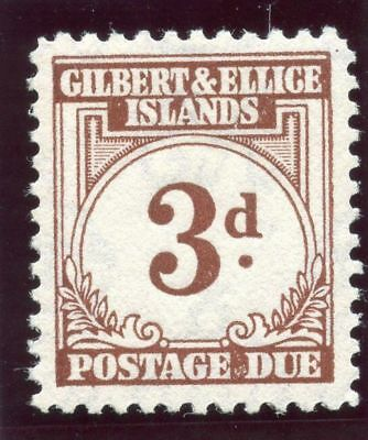 Gilbert & Ellice Is 1940 KGVI Postage Due 3d brown MLH. SG D3. Sc J3.
