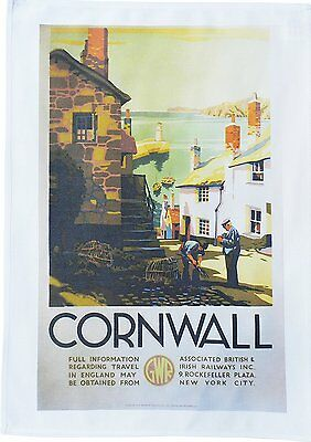 Cornwall Fishing Village - Retro Style Travel Poster Large Cotton Tea Towel
