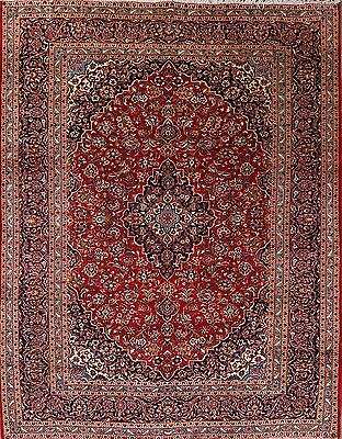 """Hand Knotted Floral Red 10x13 Kashan Persian Oriental Area Rug 12' 5"""" x 9' 8"""""""