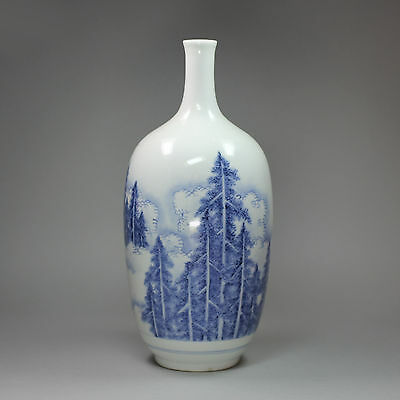 Antique Japanese Hirado blue and white bottle vase, 19th century