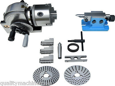 """Bs-0 Dividing Head Set W 5"""" Chuck & Tailstock For Milling Machine 5 Yr Warranty"""