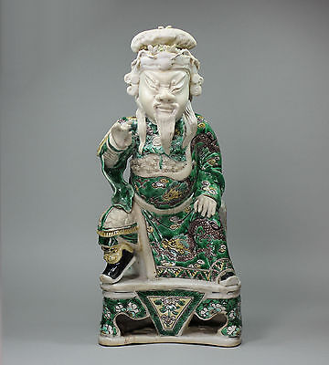 Antique Chinese famille verte biscuit figure of Guandi, the God of War, Kangxi (