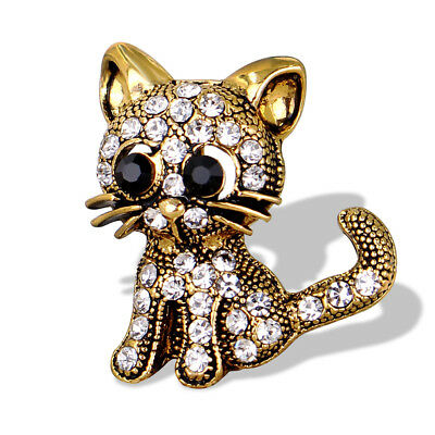 Women Vintage Gold Tone Little Cat Rhinestone Brooch Pin Scarf Accessory Healthy