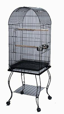PARROT BIRD CAGE DOMED W/STAND 20x20x53-0103-BLACK VEIN-521