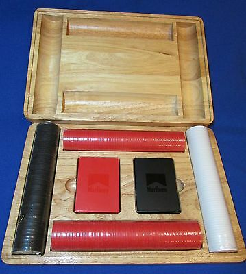 Marlboro Wooden Poker – Cards & Chips Set – Very Good Condition