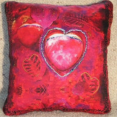"Handmade ""Peaceful Heart"" French Lavender-Filled Sachets/Pillows 11.5""x13.5"""