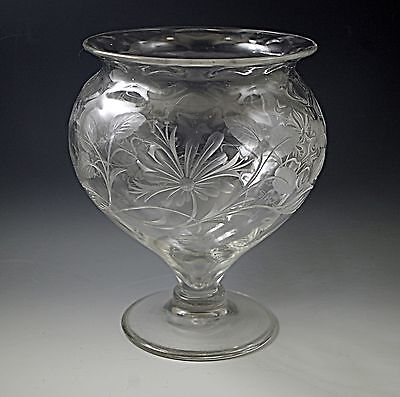 Abp Rock Crystal Steuben Footed Centerpiece Vase Intaglio Quilted