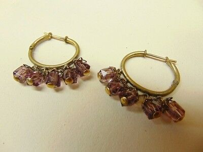 Vintage Old World Greco-Roman Inspired Gold Brass Hoop Earrings & Amethyst Glass