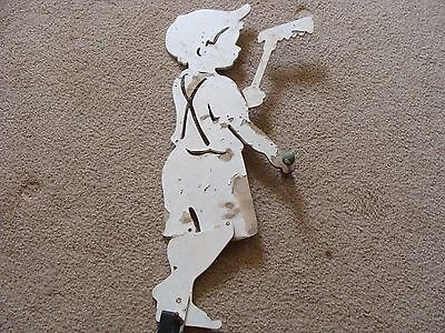 Vintage wood cut out display garden art Yard Figure Boy Playing Cute Dick Jane