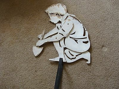 vintage wood cut out display garden art Yard Figure Boy Gardening Cute Dick Jane