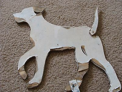 Vintage wood cut out display garden art Yard Figure Dog Running Cute Dick Jane