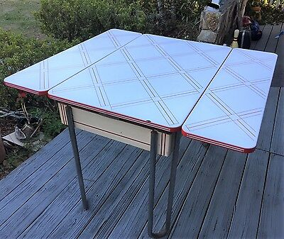 Rare Vintage Porcelain Enamel Table Country Red White Benjamin Crysteel 1940's