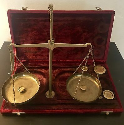 Antique Apothecary Portable Gold Scale with 197 Grams Brass Balance Weights