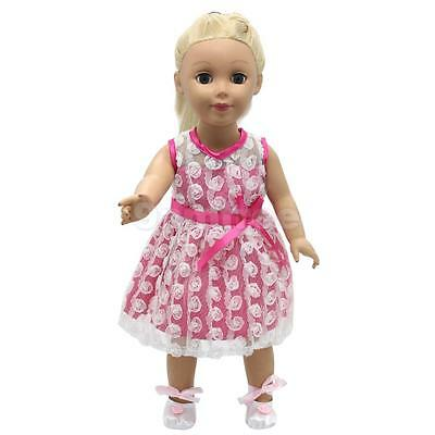 Handmade Pink Rose Lace Dress w/ Shoes For 18 inch American Girls Dolls