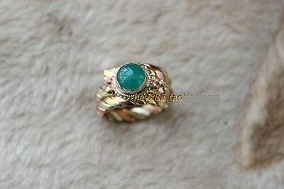 Tibet 3-Color copper Multi Strands Braid Green Jade Gemstone Dotted Amulet Ring