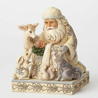 Jim Shore Heartwood Creek White Woodland Santa w/ Baby Jesus 4053687 NEW NIB