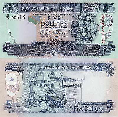 Solomon Islands 5 Dollars (2004) - Carving/Boats/p26 C5 Prefix UNC