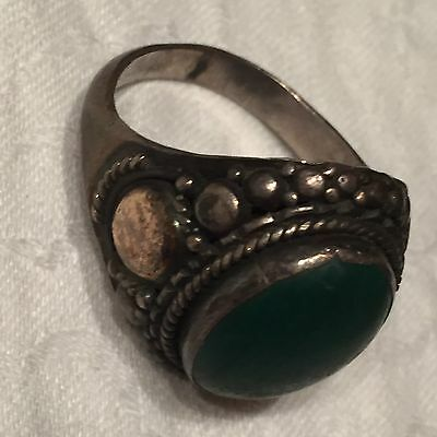 Antique Sterling Green Turquoise Signet Ring Pebbled Frame 7 1/2 Sz