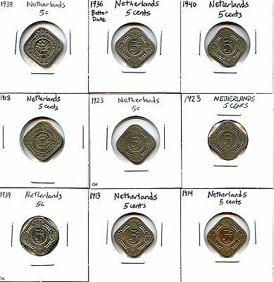 Lot of 16 1850 - 1965 Netherlands 5c Cent Coins #107045 R