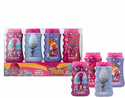 Trolls Childrens Christmas Gift Set – 4 Pack of Bubble Bath and Shower Gel