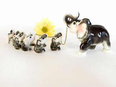 Vintage RARE Elephant Chained Family G Novelty Japan 6 Babies Trunks Up