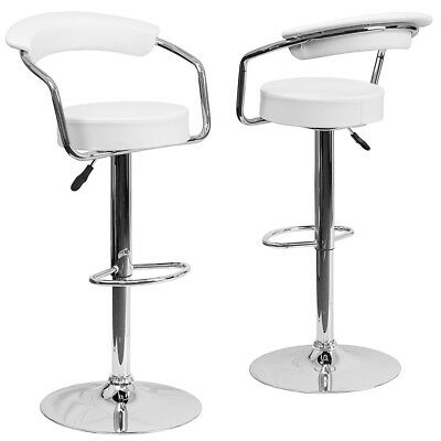 Modern Set Of 2 Bar Stools Leather Adjule Swivel Pub Chair In Multi Colors