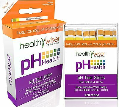 pH Test Strips 120ct - Test Alkaline & Acid Levels Using Saliva and Urine.