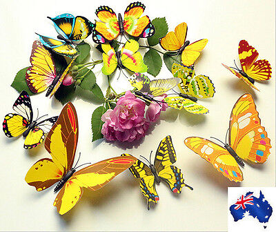 12pcs 3D Butterfly Sticker Wall Home Decor Room Decorations Yellow
