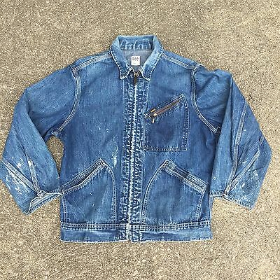 VINTAGE LEE DENIM JACKET 91-B CURVED POCKETS INDIGO MEN SANFORIZED Work Chore