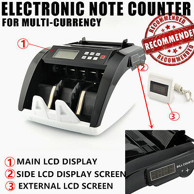 Money Bill Counter Bank Checker Machine Cash Counting Fake Detector UV With 3LCD