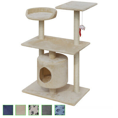 Cat Tree Scratching Post Scratcher Pet Condo w/without Paw Prints Multi Colours