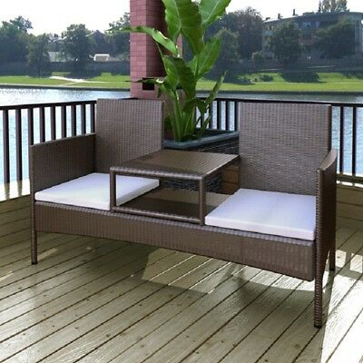vidaXL Rattan Wicker 2 Seater Bench Tea Table Outdoor Garden Furniture Set Brown