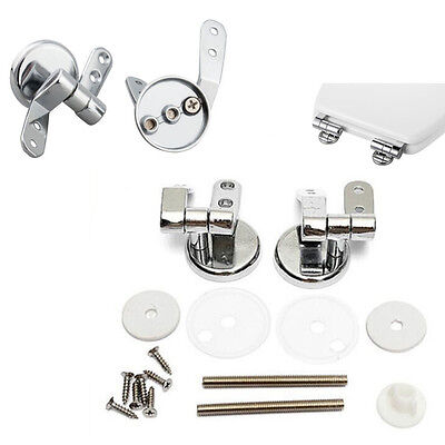 Chrome Toilet Seat Replacement Repair Hinge Set Pair With Fittings Universal NEW