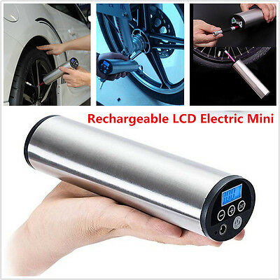 Rechargeable LCD Electric Mini Air Compressor Inflatable Pump Tire Tyre Inflator