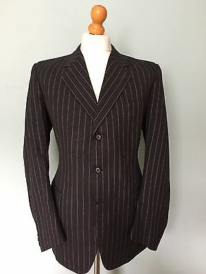 Vintage Bespoke 1940's 1960's Style  Pinstripe Single Breasted Suit 40 42