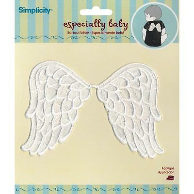 Wrights Simplicity Iron-On Applique Patch - White Lace Angel Wings
