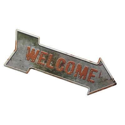 Vintage Style Iron Metal Sign with Welcome for Cafe Pub Shop Wall Door Decor