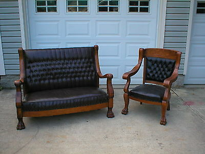 Beautiful Large Claw Foot Sofa and Chair, nice and solid oak circa 1910