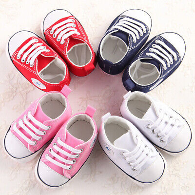 Newborn Baby Boys Girls Canvas Crib Shoes Soft Sole Prewalker Anti-slip Sneakers