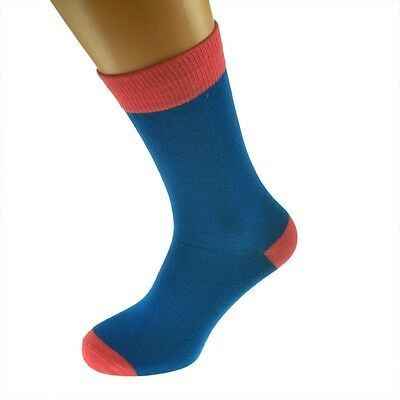 Blue Mens Socks with Salmon  heal and toes, popular Wedding Day Socks  X6TC002