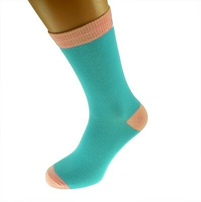 Turquoise Mens Socks with Pink heal and toes, popular Wedding Day Socks  X6TC007